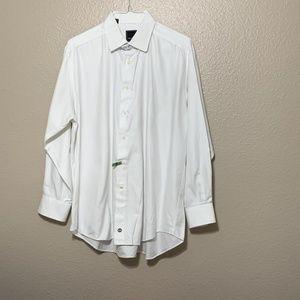 DAVID DONAHUE TEXTURED SOLID DRESS SHIRT WHITE 17